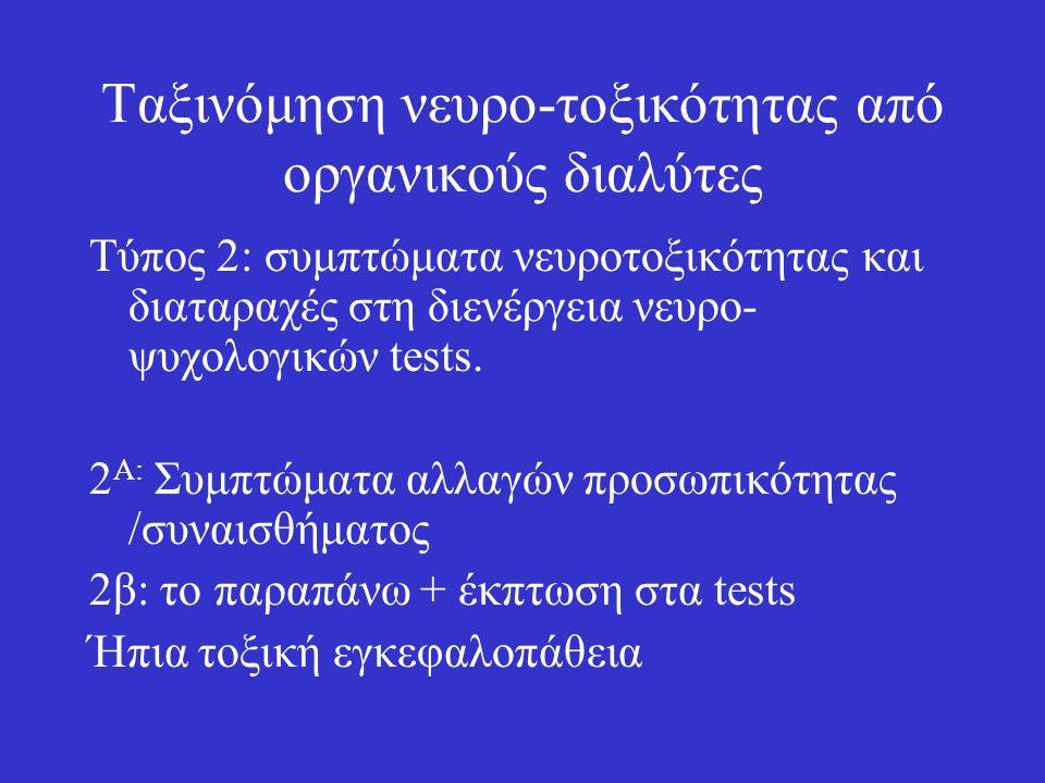 Ταξινόμηση νευρο-τοξικότητας από οργανικούς διαλύτες Tύπος 2: συμπτώματα νευροτοξικότητας και διαταραχές στη διενέργεια νευρο- ψυχολογικών tests. 2 Α: