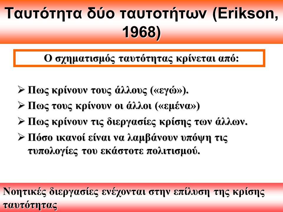 Ταυτότητα δύο ταυτοτήτων (Erikson, 1968) Ο σχηματισμός ταυτότητας κρίνεται από:  Πως κρίνουν τους άλλους («εγώ»).  Πως τους κρίνουν οι άλλοι («εμένα