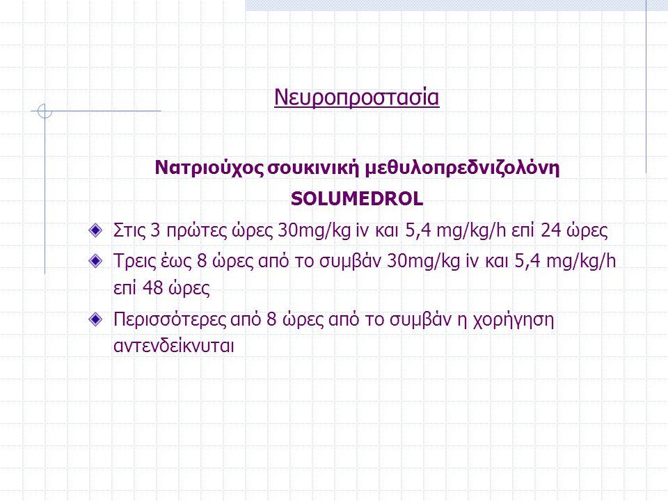 Νευροπροστασία Νατριούχος σουκινική μεθυλοπρεδνιζολόνη SOLUMEDROL Στις 3 πρώτες ώρες 30mg/kg iv και 5,4 mg/kg/h επί 24 ώρες Τρεις έως 8 ώρες από το συ