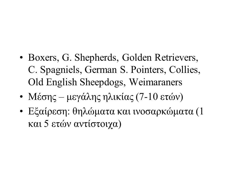 Boxers, G. Shepherds, Golden Retrievers, C. Spagniels, German S. Pointers, Collies, Old English Sheepdogs, Weimaraners Μέσης – μεγάλης ηλικίας (7-10 ε