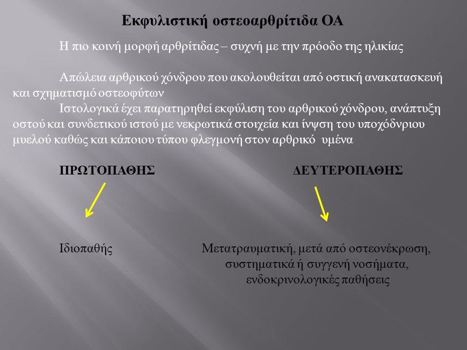 Ακτινολογικά ευρήματα οστεοαρθρίτιδας 1.Στένωση μεσάρθριου διαστήματος 2.Απώλεια αρθρικού χόνδρου 3.Παρουσία οστεοφύτων 4.Υποχόνδριες κύστεις εντός του οστού 5.Σκλήρυνση του υποχόνδριου οστού 6.Ελεύθερα εναρθρικά σωμάτια