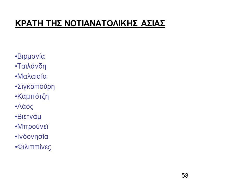 53 ΚΡΑΤΗ ΤΗΣ ΝΟΤΙΑΝΑΤΟΛΙΚΗΣ ΑΣΙΑΣ Βιρμανία Ταϊλάνδη Μαλαισία Σιγκαπούρη Καμπότζη Λάος Βιετνάμ Μπρούνεϊ Ινδονησία Φιλιππίνες