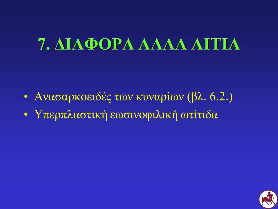7. ΔΙΑΦΟΡΑ ΑΛΛΑ ΑΙΤΙΑ Ανασαρκοειδές των κυναρίων (βλ. 6.2.) Υπερπλαστική εωσινοφιλική ωτίτιδα