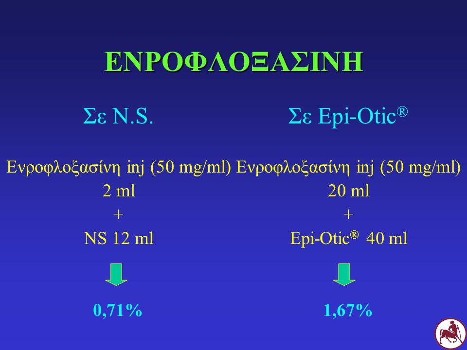ΕΝΡΟΦΛΟΞΑΣΙΝΗ Σε N.S. Ενροφλοξασίνη inj (50 mg/ml) 2 ml + NS 12 ml 0,71% Σε Epi-Otic ® Ενροφλοξασίνη inj (50 mg/ml) 20 ml + Epi-Otic ® 40 ml 1,67%
