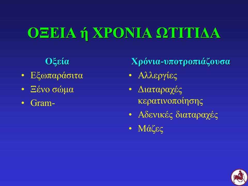 ΟΞΕΙΑ ή ΧΡΟΝΙΑ ΩΤΙΤΙΔΑ Οξεία Οξεία Εξωπαράσιτα Ξένο σώμα Gram-Χρόνια-υποτροπιάζουσα Αλλεργίες Διαταραχές κερατινοποίησης Αδενικές διαταραχές Μάζες