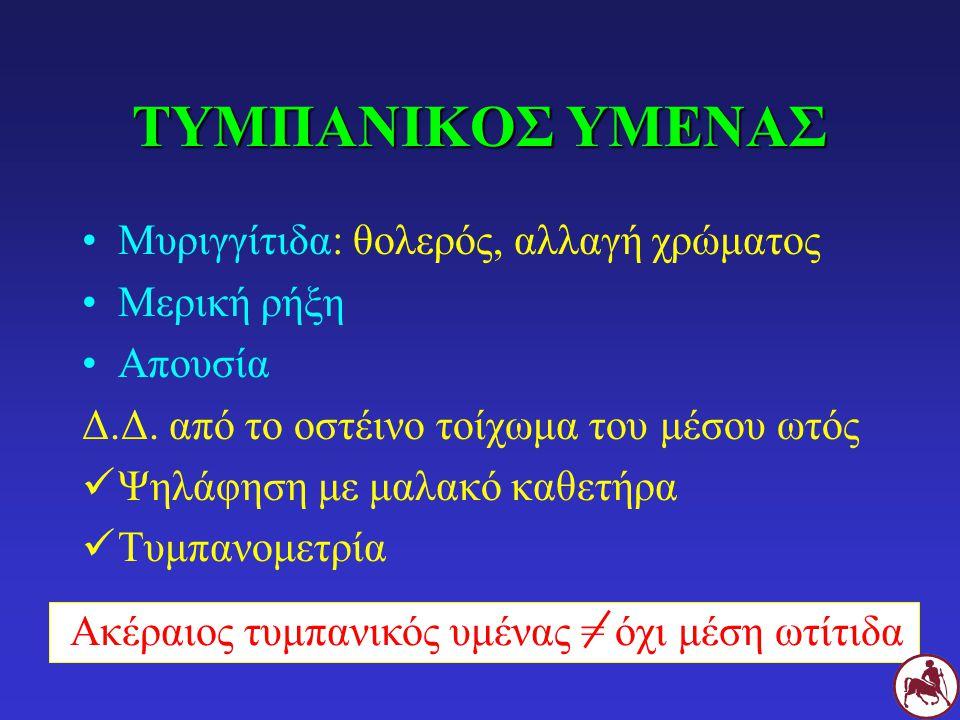ΤΥΜΠΑΝΙΚΟΣ ΥΜΕΝΑΣ Μυριγγίτιδα: θολερός, αλλαγή χρώματος Μερική ρήξη Απουσία Δ.Δ. από το οστέινο τοίχωμα του μέσου ωτός Ψηλάφηση με μαλακό καθετήρα Τυμ