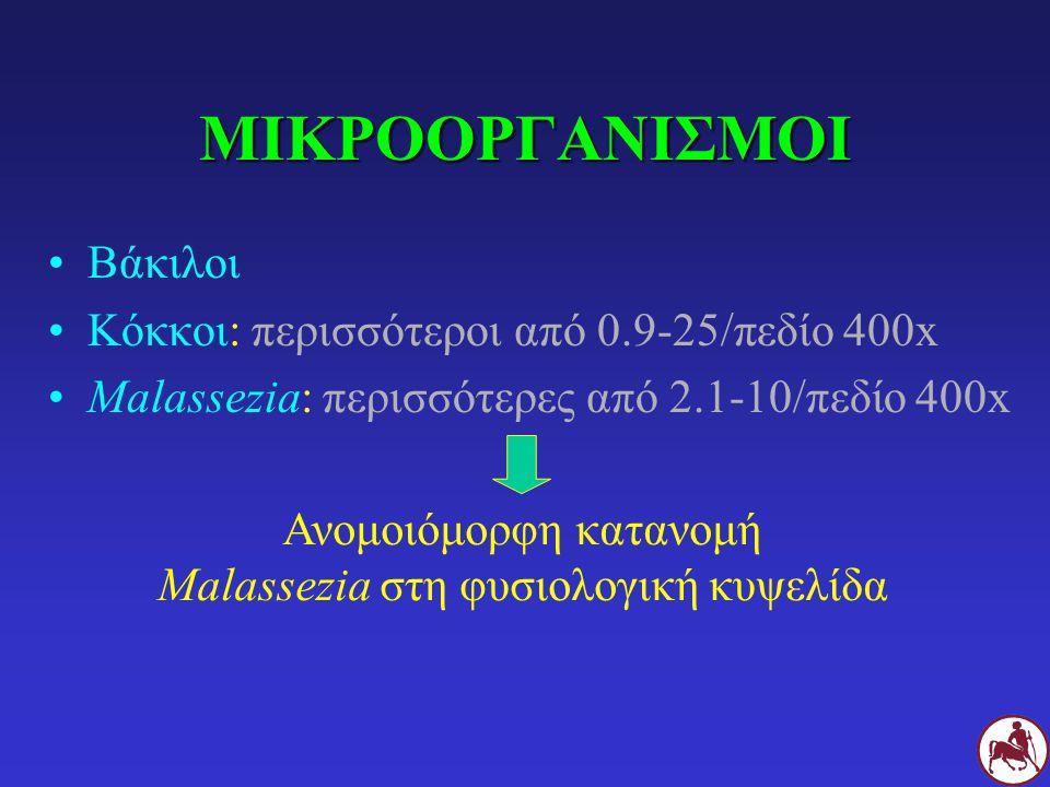 ΜΙΚΡΟΟΡΓΑΝΙΣΜΟΙ Βάκιλοι Κόκκοι: περισσότεροι από 0.9-25/πεδίο 400x Malassezia: περισσότερες από 2.1-10/πεδίο 400x Ανομοιόμορφη κατανομή Malassezia στη