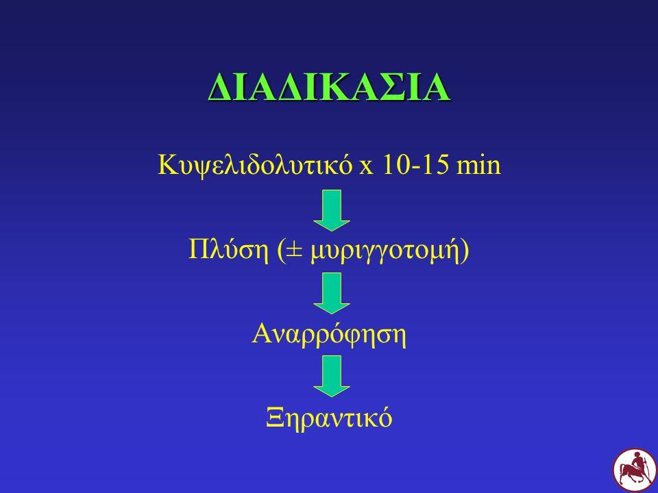 ΔΙΑΔΙΚΑΣΙΑ Κυψελιδολυτικό x 10-15 min Πλύση (± μυριγγοτομή) Αναρρόφηση Ξηραντικό