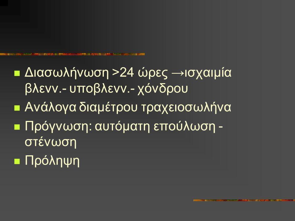 Διασωλήνωση >24 ώρες →ισχαιμία βλενν.- υποβλενν.- χόνδρου Ανάλογα διαμέτρου τραχειοσωλήνα Πρόγνωση: αυτόματη επούλωση - στένωση Πρόληψη