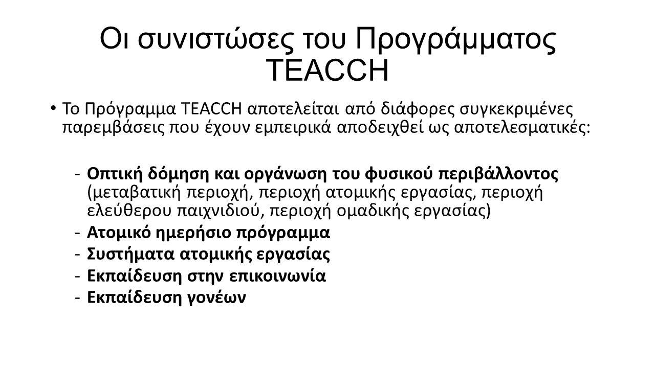 Οι συνιστώσες του Προγράμματος TEACCH Το Πρόγραμμα TEACCH αποτελείται από διάφορες συγκεκριμένες παρεμβάσεις που έχουν εμπειρικά αποδειχθεί ως αποτελε
