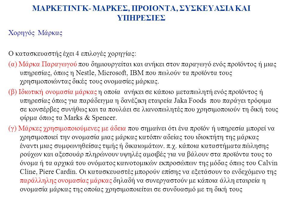 Χορηγός Μάρκας Ο κατασκευαστής έχει 4 επιλογές χορηγίας: (α) Μάρκα Παραγωγού που δημιουργείται και ανήκει στον παραγωγό ενός προϊόντος ή μιας υπηρεσίας, όπως η Nestle, Microsoft, IBM που πωλούν τα προϊόντα τους χρησιμοποιώντας δικές τους ονομασίες μάρκας.