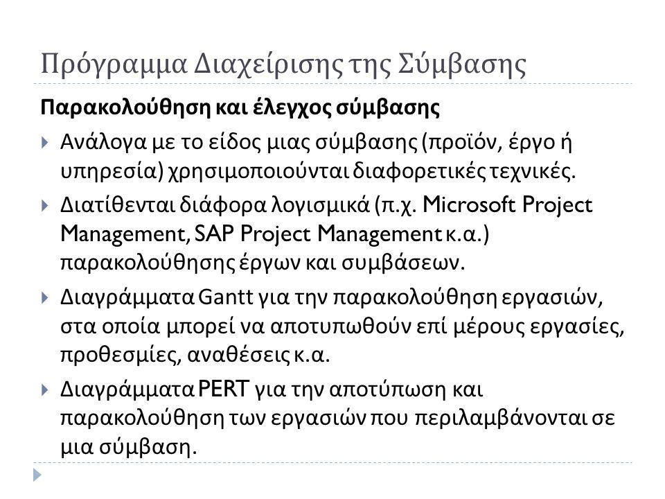 Πρόγραμμα Διαχείρισης της Σύμβασης Παρακολούθηση και έλεγχος σύμβασης  Ανάλογα με το είδος μιας σύμβασης ( προϊόν, έργο ή υπηρεσία ) χρησιμοποιούνται