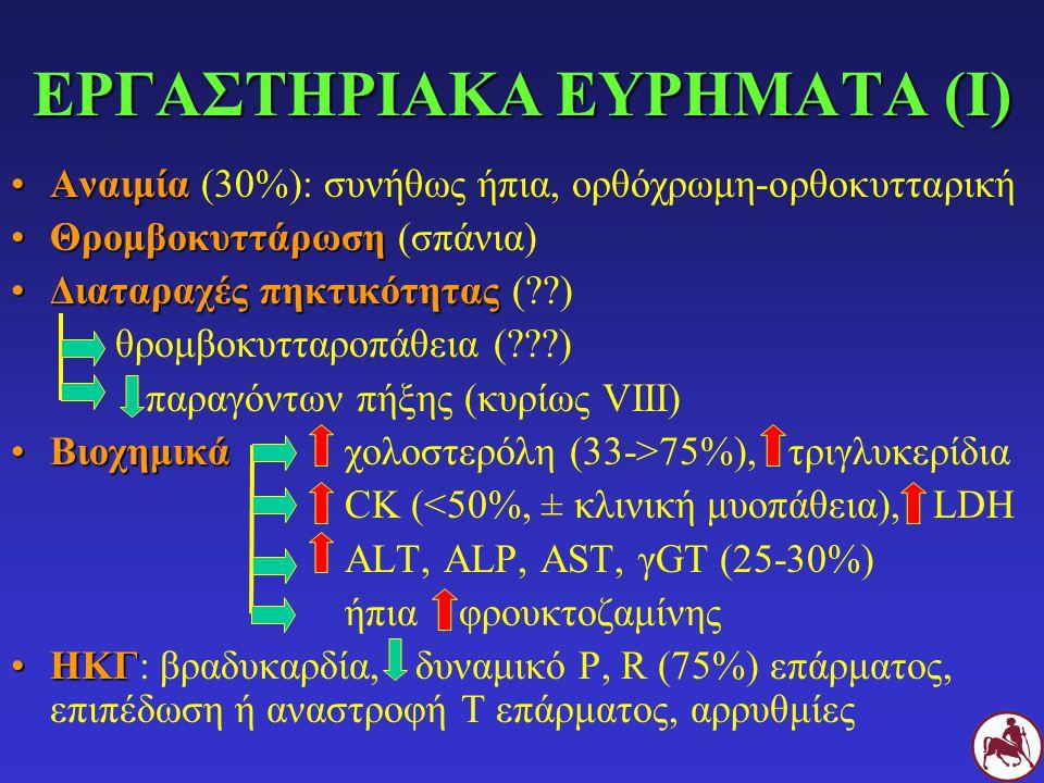 ΕΡΓΑΣΤΗΡΙΑΚΑ ΕΥΡΗΜΑΤΑ (Ι) ΑναιμίαΑναιμία (30%): συνήθως ήπια, ορθόχρωμη-ορθοκυτταρική ΘρομβοκυττάρωσηΘρομβοκυττάρωση (σπάνια) Διαταραχές πηκτικότηταςΔιαταραχές πηκτικότητας (??) θρομβοκυτταροπάθεια (???) παραγόντων πήξης (κυρίως VIII) ΒιοχημικάΒιοχημικά χολοστερόλη (33->75%), τριγλυκερίδια CK (<50%, ± κλινική μυοπάθεια), LDH ALT, ALP, AST, γGT (25-30%) ήπια φρουκτοζαμίνης ΗΚΓΗΚΓ: βραδυκαρδία, δυναμικό P, R (75%) επάρματος, επιπέδωση ή αναστροφή Τ επάρματος, αρρυθμίες