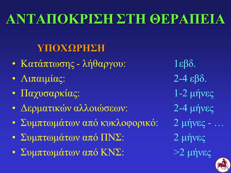 ΑΝΤΑΠΟΚΡΙΣΗ ΣΤΗ ΘΕΡΑΠΕΙΑ Κατάπτωσης - λήθαργου:1εβδ. Λιπαιμίας:2-4 εβδ. Παχυσαρκίας: 1-2 μήνες Δερματικών αλλοιώσεων: 2-4 μήνες Συμπτωμάτων από κυκλοφ