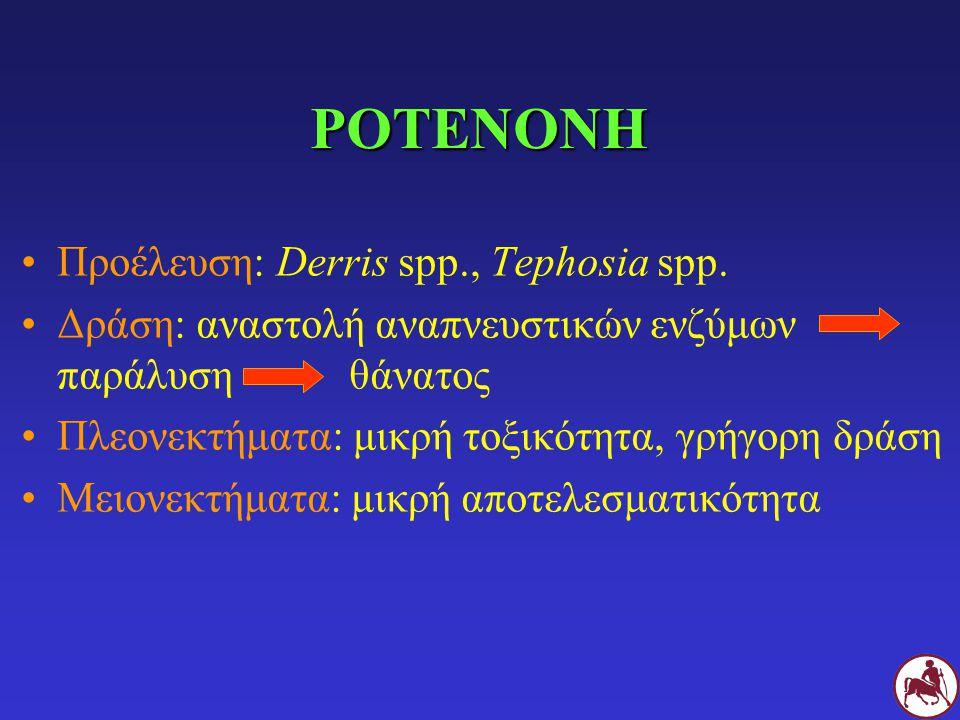ΡΟΤΕΝΟΝΗ Προέλευση: Derris spp., Tephosia spp. Δράση: αναστολή αναπνευστικών ενζύμων παράλυση θάνατος Πλεονεκτήματα: μικρή τοξικότητα, γρήγορη δράση Μ