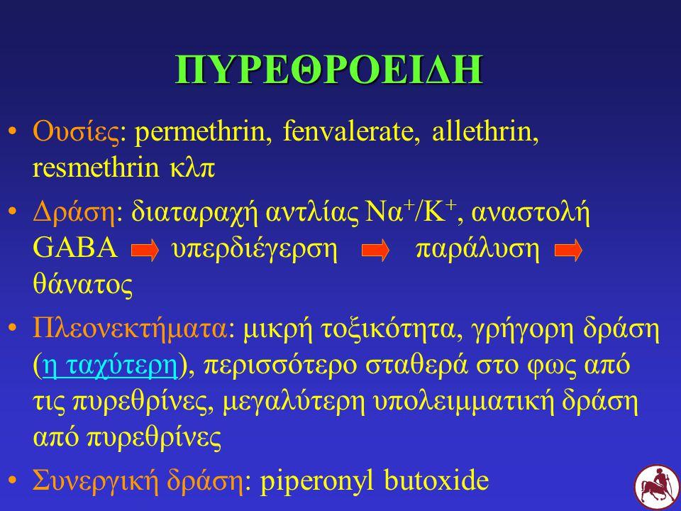 ΠΥΡΕΘΡΟΕΙΔΗ Ουσίες: permethrin, fenvalerate, allethrin, resmethrin κλπ Δράση: διαταραχή αντλίας Να + /Κ +, αναστολή GABA υπερδιέγερσηπαράλυση θάνατος