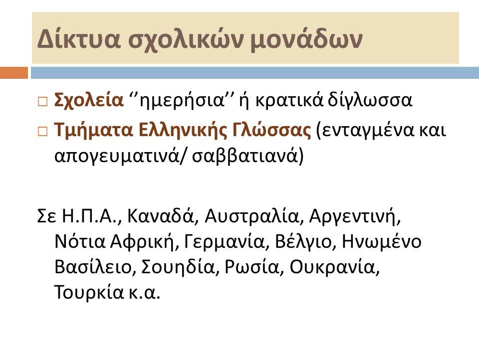 Δίκτυα σχολικών μονάδων  Σχολεία '' ημερήσια '' ή κρατικά δίγλωσσα  Τμήματα Ελληνικής Γλώσσας ( ενταγμένα και απογευματινά / σαββατιανά ) Σε Η. Π. Α