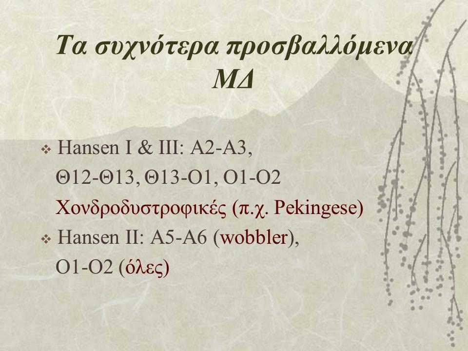 Τα συχνότερα προσβαλλόμενα ΜΔ  Hansen I & ΙΙΙ: Α2-Α3, Θ12-Θ13, Θ13-Ο1, Ο1-Ο2 Χονδροδυστροφικές (π.χ. Pekingese)  Hansen II: Α5-Α6 (wobbler), O1-O2 (