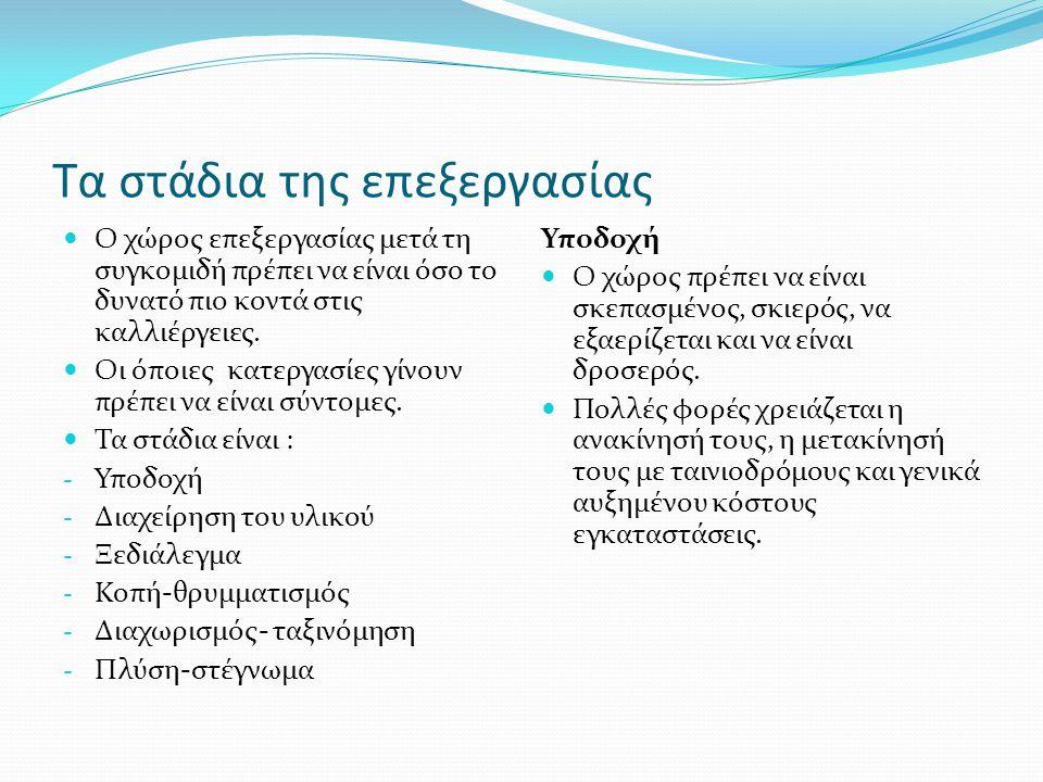 Κατάτμηση και ταξινόμηση των αρωματικών φυτών Φύλλα και πόες Εύκολα θρυμματιζόμενα: (ευθαλεία, δακτυλίτιδα, μελισσόχορτο, μύρτιλλο, στραμώνιο) Σκληρά αλλά εύθρυπτα (φύλλα δάφνης, ευκαλύπτου) Μαλακά ινώδη (αλθαία, μολόχα, φασκόμηλο) Πόες με μεγάλο ποσοστό βλαστών (υπέρικο, ματζουράνα, θυμάρι, χελιδόνι) Πόες σκληρές και εύθρυπτες (εφέδρα, φύκια λαμινάρια, δενδρολίβανο, γκυ (ιξός)).