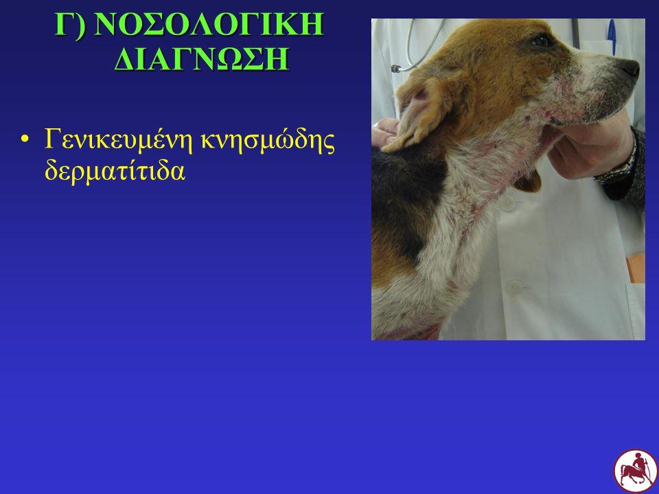 Δ) ΔΙΑΦΟΡΙΚΗ ΔΙΑΓΝΩΣΗ Γενικευμένη δεμοδήκωση των νεαρών σκύλων Σαρκοπτική ψώρα Ατοπική δερματίτιδα Τροφική αλλεργία Βακτηριδιακή δερματίτιδα Δερματίτιδα από Malassezia