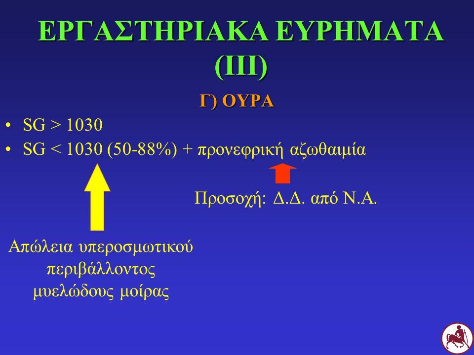 ΕΡΓΑΣΤΗΡΙΑΚΑ ΕΥΡΗΜΑΤΑ (ΙΙΙ) Γ) ΟΥΡΑ SG > 1030 SG < 1030 (50-88%) + προνεφρική αζωθαιμία Προσοχή: Δ.Δ. από Ν.Α. Απώλεια υπεροσμωτικού περιβάλλοντος μυε