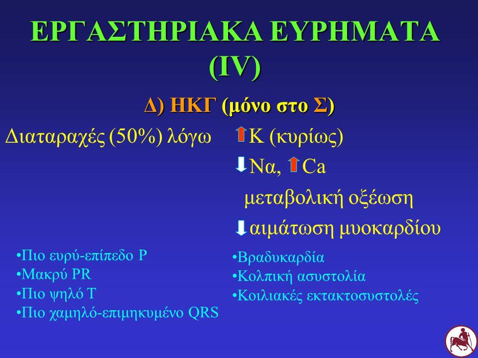 ΕΡΓΑΣΤΗΡΙΑΚΑ ΕΥΡΗΜΑΤΑ (ΙV) Δ) ΗΚΓ (μόνο στο Σ) Διαταραχές (50%) λόγω Κ (κυρίως) Να, Ca μεταβολική οξέωση αιμάτωση μυοκαρδίου Πιο ευρύ-επίπεδο Ρ Μακρύ