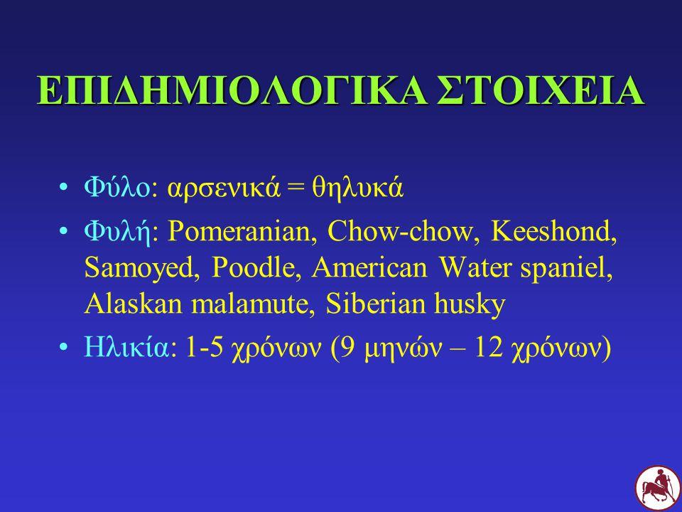 ΕΠΙΔΗΜΙΟΛΟΓΙΚΑ ΣΤΟΙΧΕΙΑ Φύλο: αρσενικά = θηλυκά Φυλή: Pomeranian, Chow-chow, Keeshond, Samoyed, Poodle, American Water spaniel, Alaskan malamute, Siberian husky Ηλικία: 1-5 χρόνων (9 μηνών – 12 χρόνων)