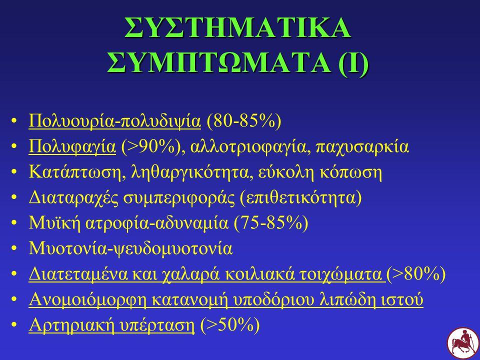ΣΥΣΤΗΜΑΤΙΚΑ ΣΥΜΠΤΩΜΑΤΑ (Ι) Πολυουρία-πολυδιψία (80-85%) Πολυφαγία (>90%), αλλοτριοφαγία, παχυσαρκία Κατάπτωση, ληθαργικότητα, εύκολη κόπωση Διαταραχές συμπεριφοράς (επιθετικότητα) Μυϊκή ατροφία-αδυναμία (75-85%) Μυοτονία-ψευδομυοτονία Διατεταμένα και χαλαρά κοιλιακά τοιχώματα (>80%) Ανομοιόμορφη κατανομή υποδόριου λιπώδη ιστού Αρτηριακή υπέρταση (>50%)