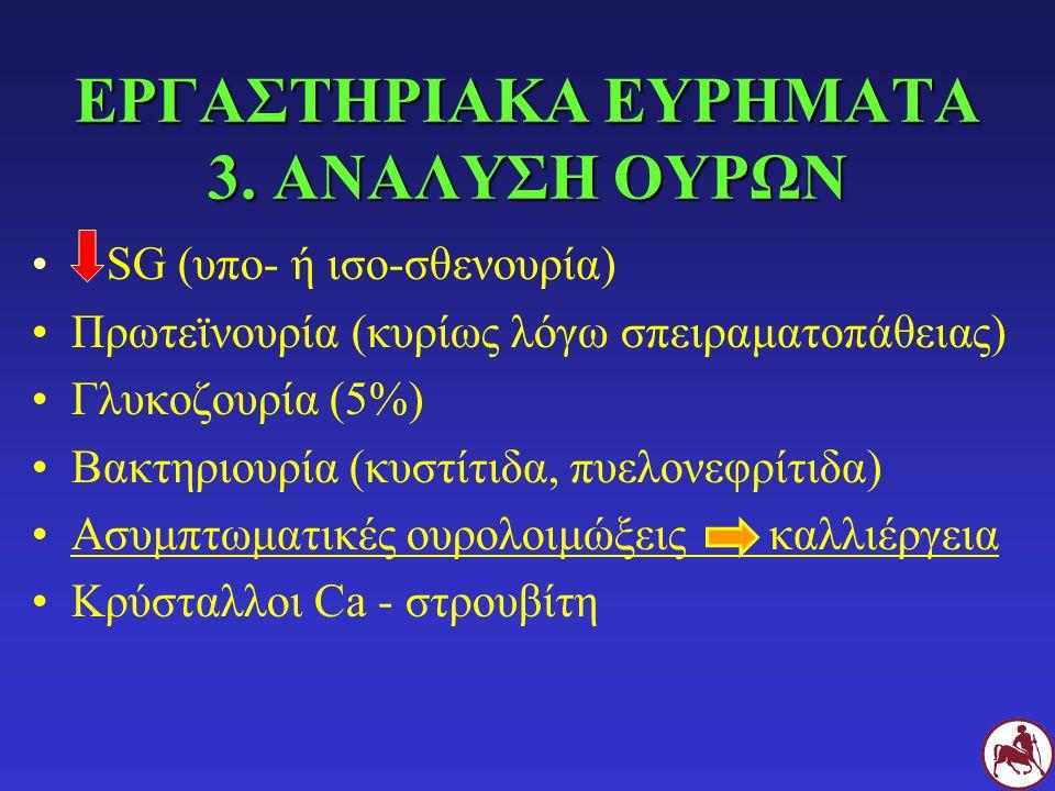 ΕΡΓΑΣΤΗΡΙΑΚΑ ΕΥΡΗΜΑΤΑ 3. ΑΝΑΛΥΣΗ ΟΥΡΩΝ SG (υπο- ή ισο-σθενουρία) Πρωτεϊνουρία (κυρίως λόγω σπειραματοπάθειας) Γλυκοζουρία (5%) Βακτηριουρία (κυστίτιδα