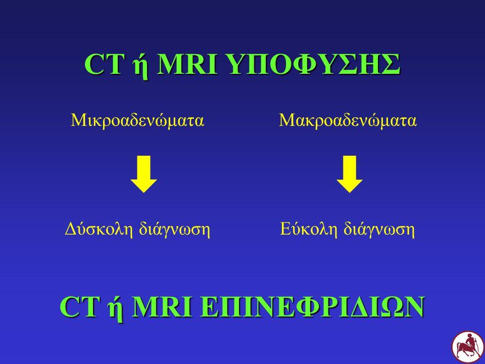 CT ή MRI ΥΠΟΦΥΣΗΣ Μικροαδενώματα Δύσκολη διάγνωση Μακροαδενώματα Εύκολη διάγνωση CT ή MRIΕΠΙΝΕΦΡΙΔΙΩΝ CT ή MRI ΕΠΙΝΕΦΡΙΔΙΩΝ