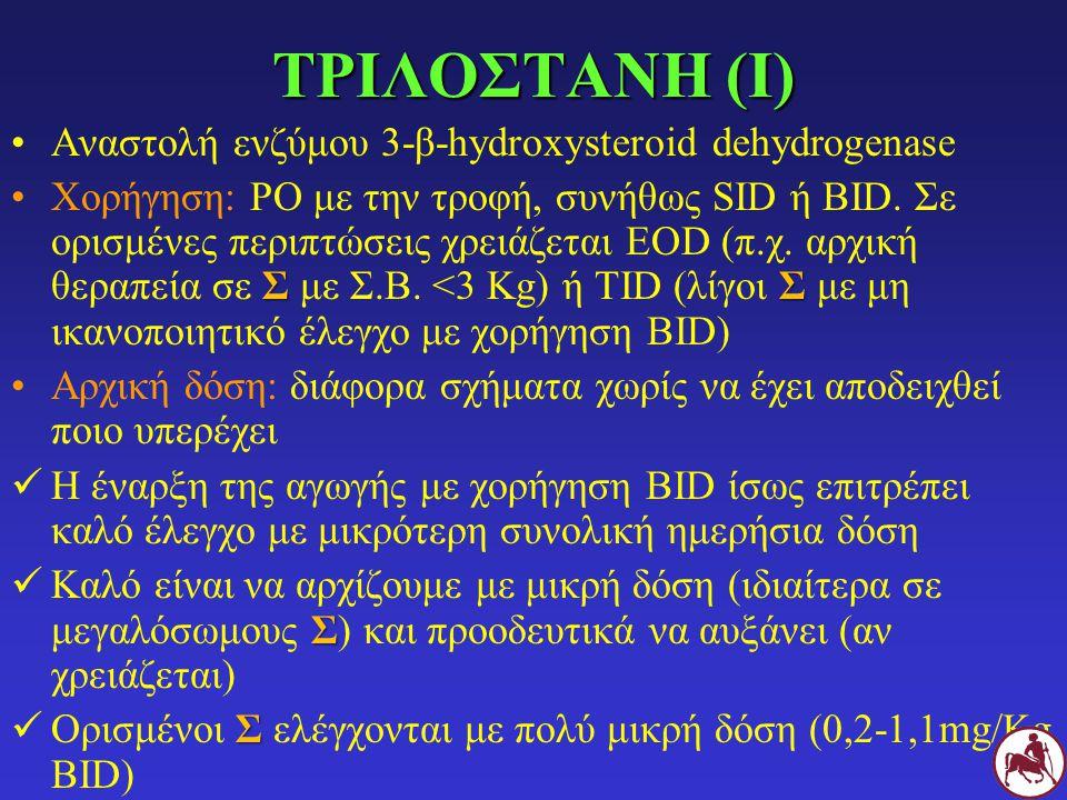 ΤΡΙΛΟΣΤΑΝΗ (Ι) Αναστολή ενζύμου 3-β-hydroxysteroid dehydrogenase Σ ΣΧορήγηση: PO με την τροφή, συνήθως SID ή BID. Σε ορισμένες περιπτώσεις χρειάζεται