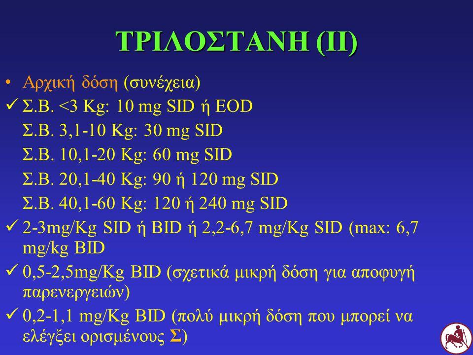 ΤΡΙΛΟΣΤΑΝΗ (ΙΙ) Αρχική δόση (συνέχεια) Σ.Β. <3 Kg: 10 mg SID ή EOD Σ.Β. 3,1-10 Kg: 30 mg SID Σ.Β. 10,1-20 Κg: 60 mg SID Σ.Β. 20,1-40 Κg: 90 ή 120 mg S