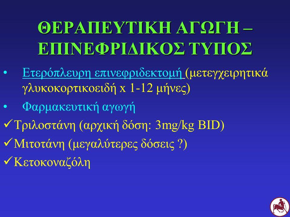 ΘΕΡΑΠΕΥΤΙΚΗ ΑΓΩΓΗ – ΕΠΙΝΕΦΡΙΔΙΚΟΣ ΤΥΠΟΣ Ετερόπλευρη επινεφριδεκτομή (μετεγχειρητικά γλυκοκορτικοειδή x 1-12 μήνες) Φαρμακευτική αγωγή Τριλοστάνη (αρχική δόση: 3mg/kg BID) Μιτοτάνη (μεγαλύτερες δόσεις ?) Κετοκοναζόλη