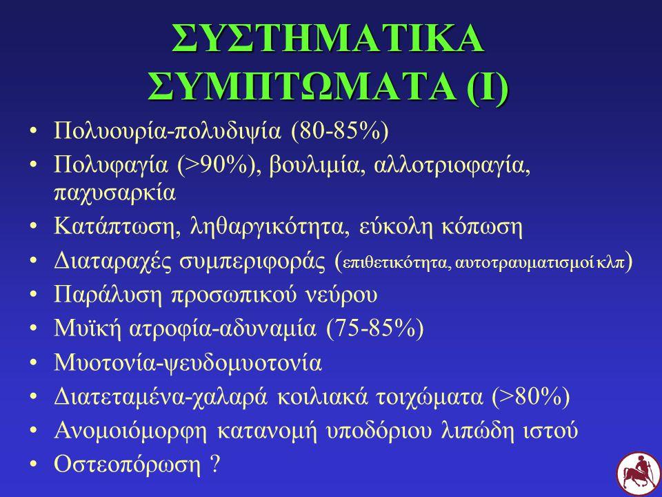ΣΥΣΤΗΜΑΤΙΚΑ ΣΥΜΠΤΩΜΑΤΑ (Ι) Πολυουρία-πολυδιψία (80-85%) Πολυφαγία (>90%), βουλιμία, αλλοτριοφαγία, παχυσαρκία Κατάπτωση, ληθαργικότητα, εύκολη κόπωση