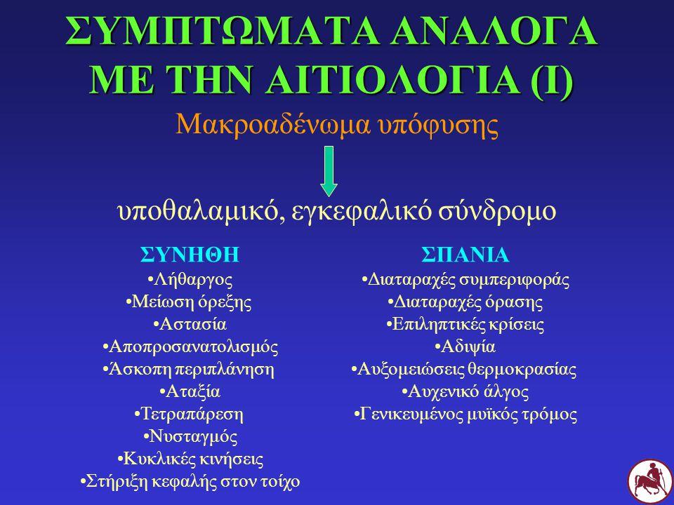 ΣΥΜΠΤΩΜΑΤΑ ΑΝΑΛΟΓΑ ΜΕ ΤΗΝ ΑΙΤΙΟΛΟΓΙΑ (Ι) Μακροαδένωμα υπόφυσης υποθαλαμικό, εγκεφαλικό σύνδρομο ΣΥΝΗΘΗ Λήθαργος Μείωση όρεξης Αστασία Αποπροσανατολισμ