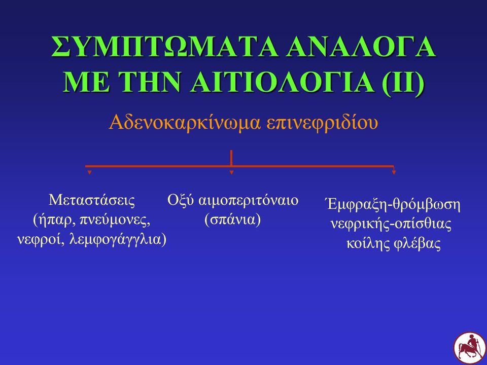 ΣΥΜΠΤΩΜΑΤΑ ΑΝΑΛΟΓΑ ΜΕ ΤΗΝ ΑΙΤΙΟΛΟΓΙΑ (ΙΙ) Αδενοκαρκίνωμα επινεφριδίου Μεταστάσεις (ήπαρ, πνεύμονες, νεφροί, λεμφογάγγλια) Οξύ αιμοπεριτόναιο (σπάνια)