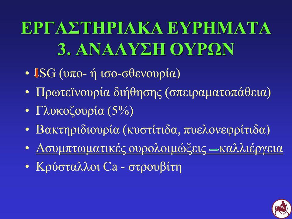 ΕΡΓΑΣΤΗΡΙΑΚΑ ΕΥΡΗΜΑΤΑ 3. ΑΝΑΛΥΣΗ ΟΥΡΩΝ SG (υπο- ή ισο-σθενουρία) Πρωτεϊνουρία διήθησης (σπειραματοπάθεια) Γλυκοζουρία (5%) Βακτηριδιουρία (κυστίτιδα,