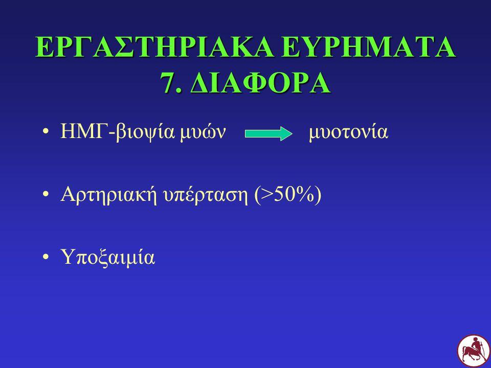 ΕΡΓΑΣΤΗΡΙΑΚΑ ΕΥΡΗΜΑΤΑ 7. ΔΙΑΦΟΡΑ ΗΜΓ-βιοψία μυών μυοτονία Αρτηριακή υπέρταση (>50%) Υποξαιμία