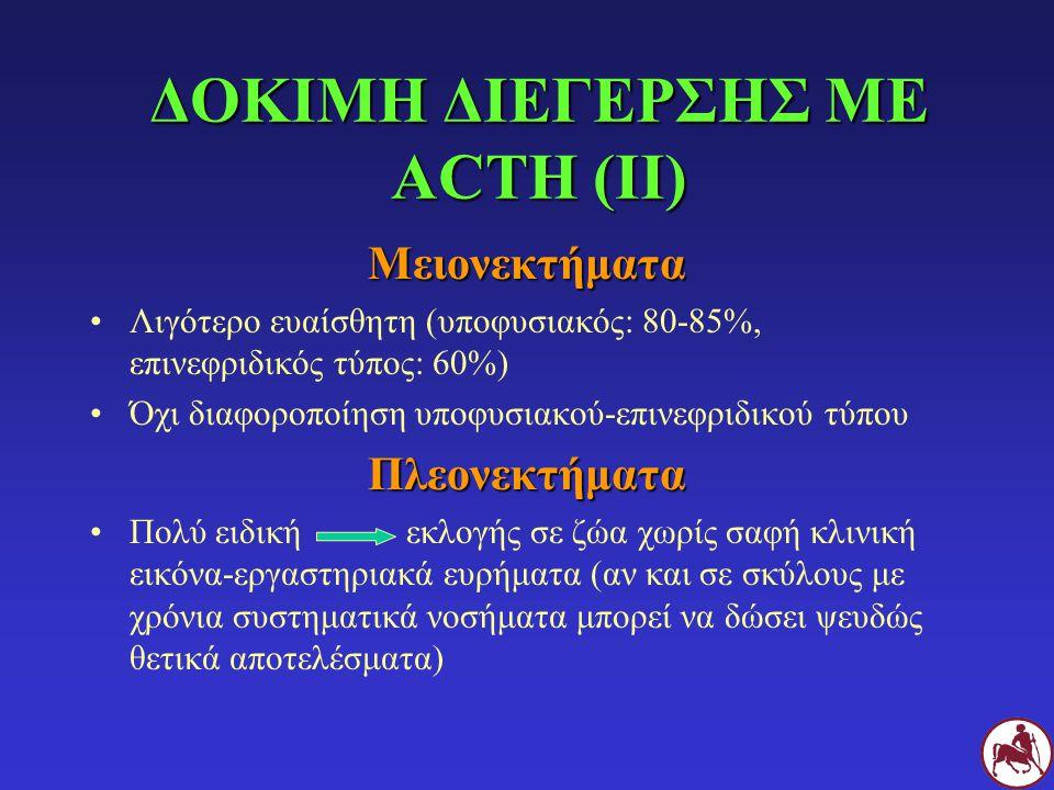 ΔΟΚΙΜΗ ΔΙΕΓΕΡΣΗΣ ΜΕ ACTH (ΙΙ) Μειονεκτήματα Λιγότερο ευαίσθητη (υποφυσιακός: 80-85%, επινεφριδικός τύπος: 60%) Όχι διαφοροποίηση υποφυσιακού-επινεφριδ
