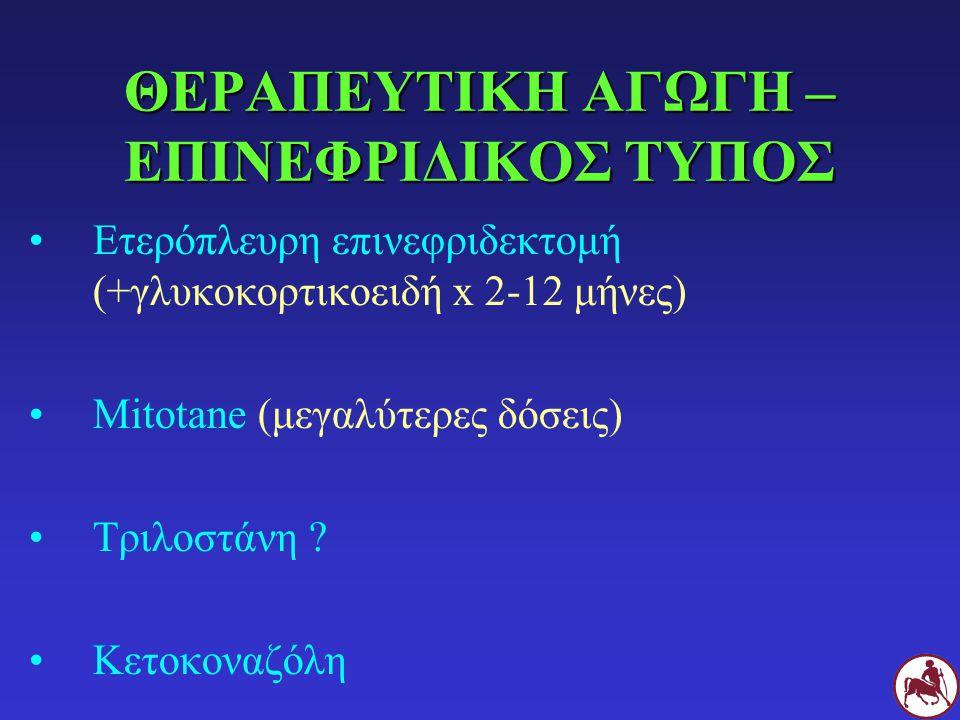 ΘΕΡΑΠΕΥΤΙΚΗ ΑΓΩΓΗ – ΕΠΙΝΕΦΡΙΔΙΚΟΣ ΤΥΠΟΣ Ετερόπλευρη επινεφριδεκτομή (+γλυκοκορτικοειδή x 2-12 μήνες) Mitotane (μεγαλύτερες δόσεις) Τριλοστάνη ? Κετοκο