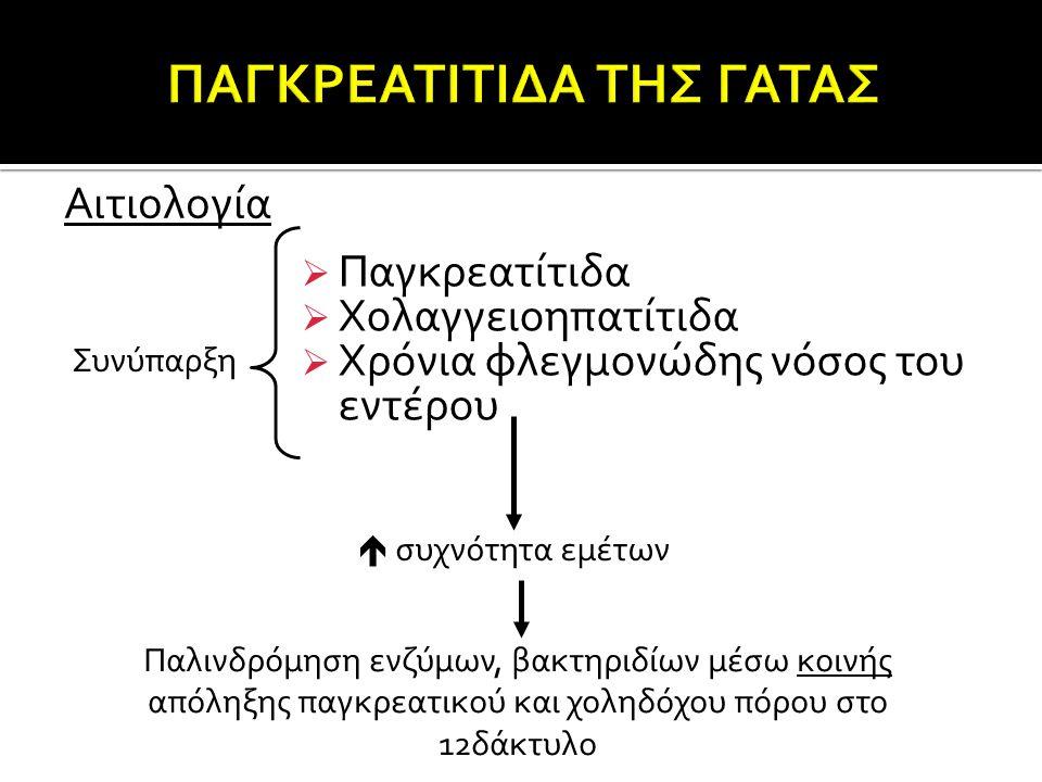  Παγκρεατίτιδα  Χολαγγειοηπατίτιδα  Χρόνια φλεγμονώδης νόσος του εντέρου Αιτιολογία Συνύπαρξη  συχνότητα εμέτων Παλινδρόμηση ενζύμων, βακτηριδίων