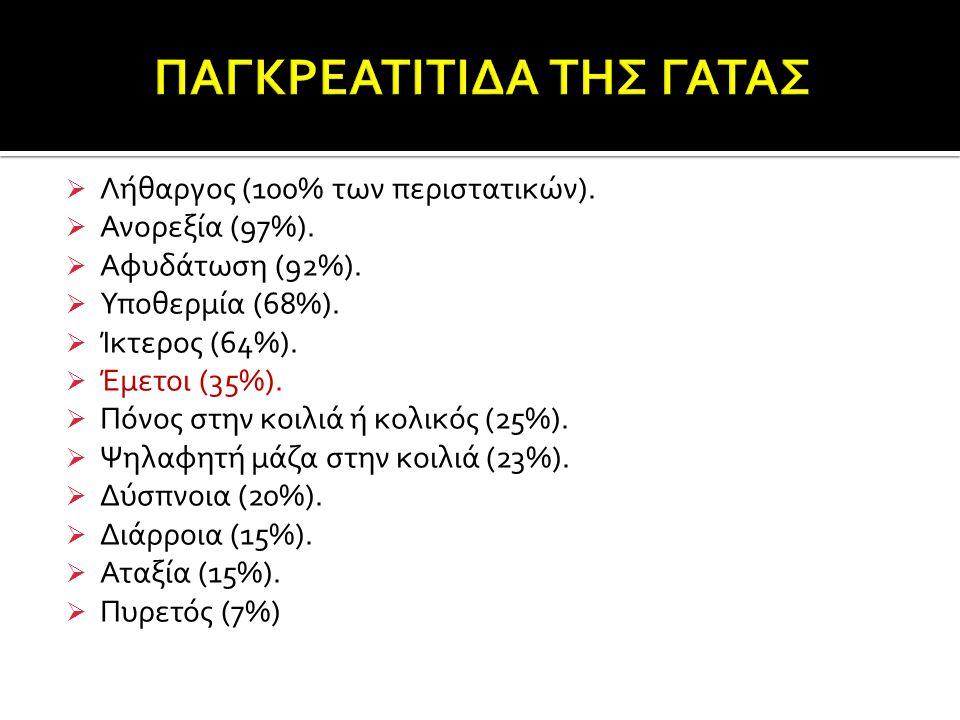  Λήθαργος (100% των περιστατικών).  Ανορεξία (97%).  Αφυδάτωση (92%).  Υποθερμία (68%).  Ίκτερος (64%).  Έμετοι (35%).  Πόνος στην κοιλιά ή κολ