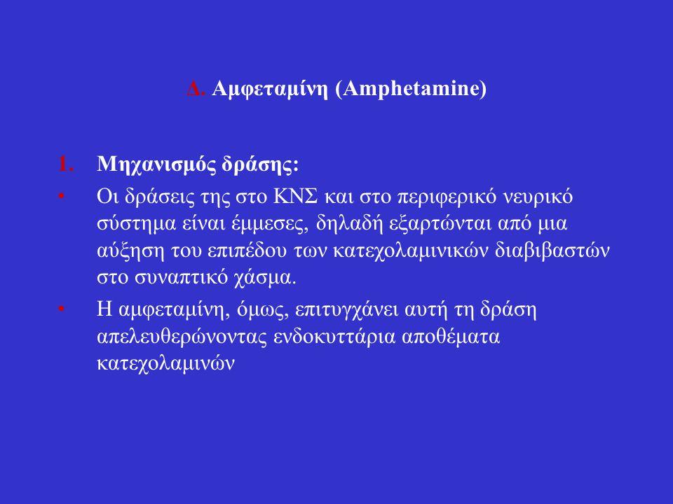 Δ. Αμφεταμίνη (Amphetamine) 1.Μηχανισμός δράσης: Οι δράσεις της στο ΚΝΣ και στο περιφερικό νευρικό σύστημα είναι έμμεσες, δηλαδή εξαρτώνται από μια αύ