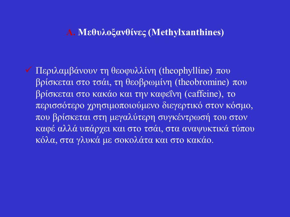 Α. Μεθυλοξανθίνες (Methylxanthines) Περιλαμβάνουν τη θεοφυλλίνη (theophyllίne) που βρίσκεται στο τσάι, τη θεοβρωμίνη (theobromine) που βρίσκεται στο κ