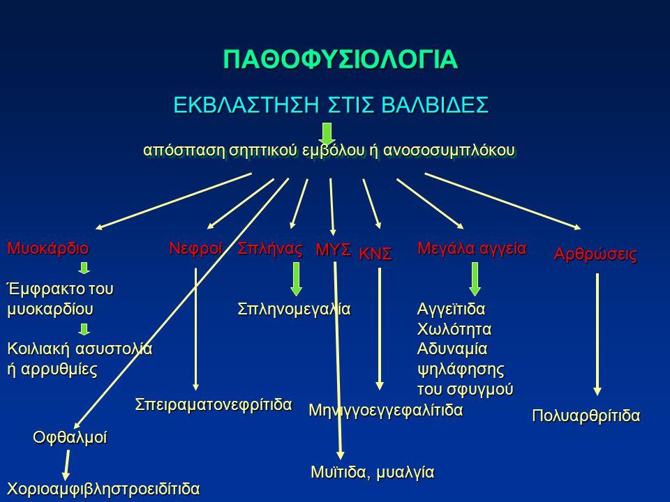 ΠΑΘΟΦΥΣΙΟΛΟΓΙΑ ΕΚΒΛΑΣΤΗΣΗ ΣΤΙΣ ΒΑΛΒΙΔΕΣ απόσπαση σηπτικού εμβόλου ή ανοσοσυμπλόκου Μυοκάρδιο Έμφρακτο του μυοκαρδίου Κοιλιακή ασυστολία ή αρρυθμίες Νε