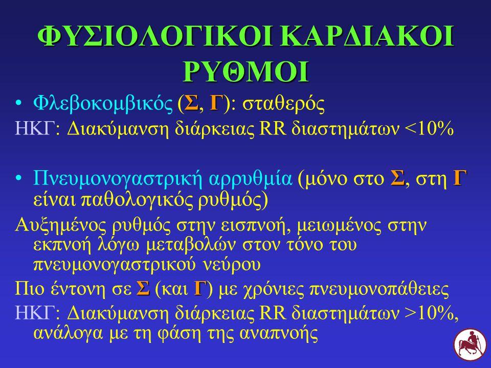 ΦΥΣΙΟΛΟΓΙΚΟΙ ΚΑΡΔΙΑΚΟΙ ΡΥΘΜΟΙ ΣΓΦλεβοκομβικός (Σ, Γ): σταθερός ΗΚΓ: Διακύμανση διάρκειας RR διαστημάτων <10% ΣΓΠνευμονογαστρική αρρυθμία (μόνο στο Σ,