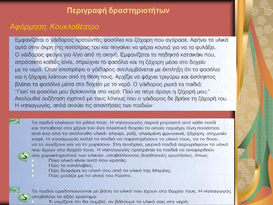 Περιγραφή δραστηριοτήτων Αφόρμηση: Κουκλοθέατρο