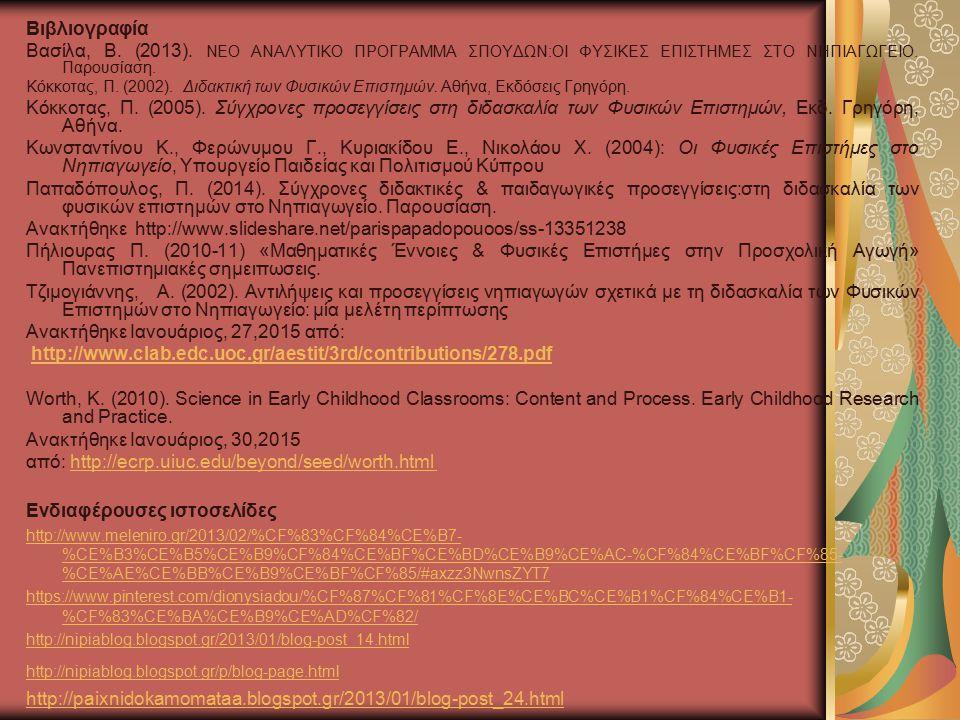 Βιβλιογραφία Βασίλα, Β. (2013). ΝΕΟ ΑΝΑΛΥΤΙΚΟ ΠΡΟΓΡΑΜΜΑ ΣΠΟΥΔΩΝ:ΟΙ ΦΥΣΙΚΕΣ ΕΠΙΣΤΗΜΕΣ ΣΤΟ ΝΗΠΙΑΓΩΓΕΙΟ. Παρουσίαση. Κόκκοτας, Π. (2002). Διδακτική των Φ