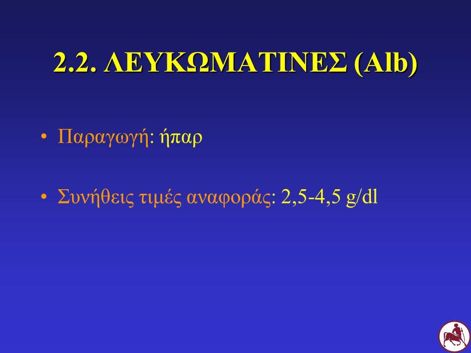 2.2. ΛΕΥΚΩΜΑΤΙΝΕΣ (Alb) Παραγωγή: ήπαρ Συνήθεις τιμές αναφοράς: 2,5-4,5 g/dl