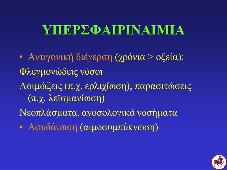 ΥΠΕΡΣΦΑΙΡΙΝΑΙΜΙΑ Αντιγονική διέγερση (χρόνια > οξεία): Φλεγμονώδεις νόσοι Λοιμώξεις (π.χ.